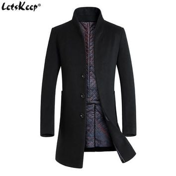 New Winter Wool Long Peacoat For Men / Slim Fit Casual
