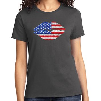 Ladies USA T-shirt Patriotic Lips Tee
