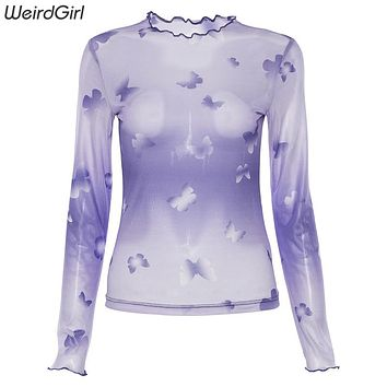 Weirdgirl women T-shirts sexy and club long sleeve print ruffled butterfly sleeve