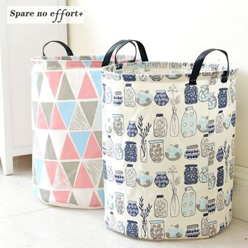 Foldable Cotton & Linen Storage Bucket Laundry Basket with Handle Children's Toy Storage Housekeeping Tidy 35*45CM Free Shipping