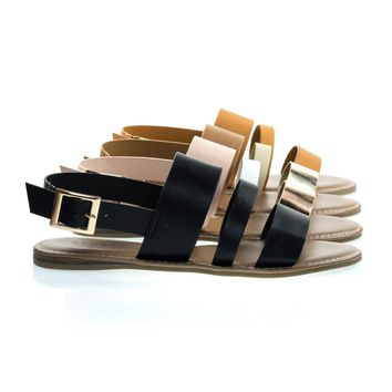 Bliss52m Solid Black By Bamboo, Multi Colored Open Toe Flat Sandal In Faux Leather 7 Metallic Straps