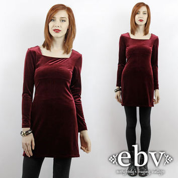 90s Grunge Dress Oxblood Dress Vintage 90s Merlot Crushed Velvet Mini Dress XS S Goth Dress