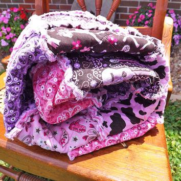Rag Quilt, Cowgirl, Pink, Purple, Horses, Guitars