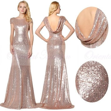 Sparkly Rose Gold Sequins Bridesmaid Dresses 2017 Scoop Neck Short Sleeves  Bride Maid Of Honor Dress 2f02c933c01a