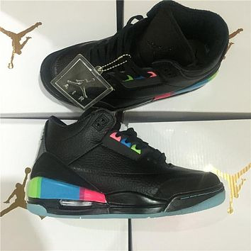 Air Jordan 3 Retro Black Colorful Sneaker Shoes -1