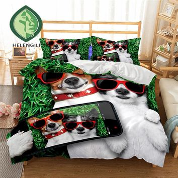 dog 3D Bedding Set  Monocerus Print  Duvet cover set Twin queen king Beautiful pattern Real effect lifelike bedclothes