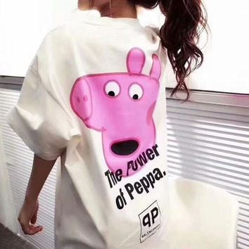 Balenciaga X Peppa Pig Fashion Casual Shirt Top Tee White I-AA-XDD