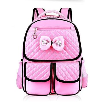 New Fashion Children School Bags Girls High Quality PU Children Backpack School Backpacks Child Book Bag 2016 Free Shipping D323