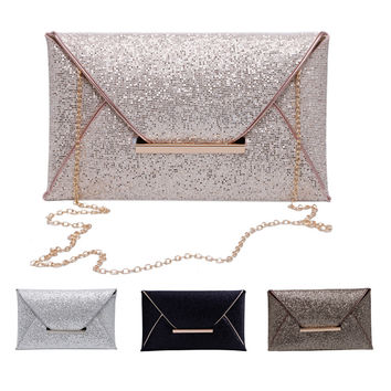 New 1Pc New Women Glitter Sequins Handbag Evening Party Envelope Clutch Bag Wallet Purse