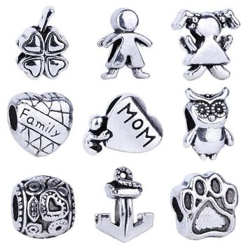 VONC1Y 1pc  Silver Bead Charm European Love Heart Clover Owl Boy Dog Paw Family Fashion Bead Fit Pandora Bracelet Necklace