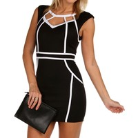 Sale-black Contrast Trim Bodycon Dress