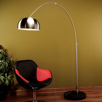 Chrome Arch Floor Lamp, Brushed Chrome / Black Marble