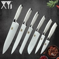 XYj 6 Piece Stainless Steel Knife Set High Carbon Sharp Thin Blade Comfortable Handle Kitchen Knives Meat Fish Cooking Tool