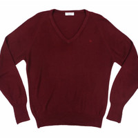 Vintage Christian Dior Burgundy Red V Neck Sweater - Maroon Jumper Vneck Ivy League Menswear - Men's Size Large