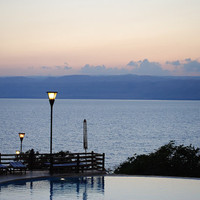 Sunset Sea View Wall Art – Sunset Seascape Travel Photographic Print with Infinity Swimming Pool in Harmonious Blue