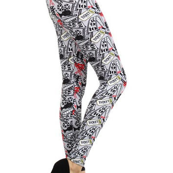Vintage Movie Theater Print Leggings