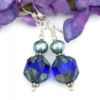 Cobalt Blue Earrings, Minty Green Pearls Sterling Handmade Jewelry Gift