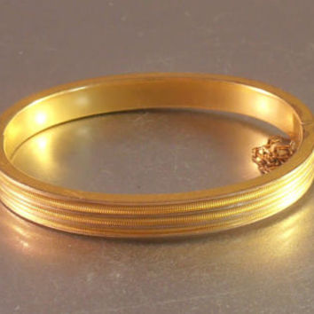 Antique Gold Filled Bangle Bracelet, Edwardian Hinged