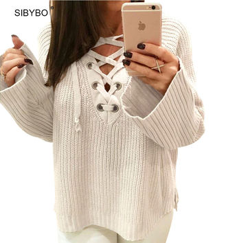 Julissa Mo Winter Knitted Sweater Women 2016 Flare Sleeve V Neck Pullover Sexy Lace Up Jumpers Casual Split Knitwear Outwear