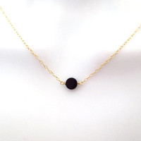 Simple, onyx, karma, circle, necklace, minimal, necklace, gift, jewelry, black, tiny, dot, necklace, dot, necklace