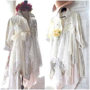 Boho fall denim jacket, Boho clothes, Winter white Stevie Nicks style duster coat dress, festival shabby lace kimono, True rebel clothing LG