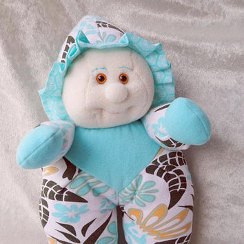 Cute TURQUOISE Ocean Baby chubby soft DOLL UNIQUE Handmade baby shower soft doll with hoodie beach sand color dwarf gnome cloth doll ooak