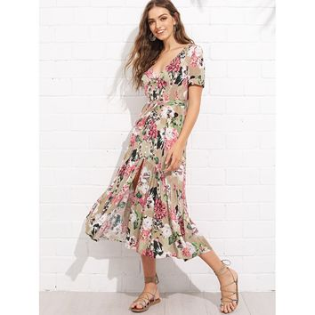 Button Through Ruffle Hem Botanical Dress