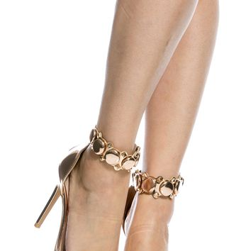 Rose Gold Faux Patent Leather Ankle Strap Single Sole Heels @ Cicihot Heel Shoes online store sales:Stiletto Heel Shoes,High Heel Pumps,Womens High Heel Shoes,Prom Shoes,Summer Shoes,Spring Shoes,Spool Heel,Womens Dress Shoes