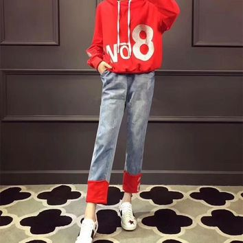 """Moschino"" Women Casual Fashion Numeral Letter Print Long Sleeve Hooded Sweater Multicolor Jeans Trousers Set Two-Piece"