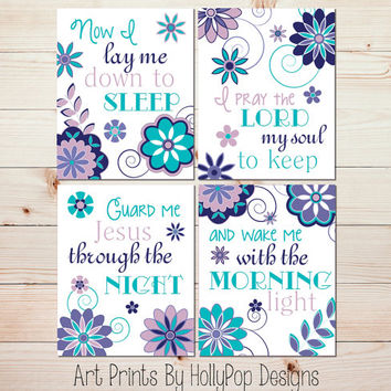 Nursery Art Prints Now I Lay Me Down to Sleep Childrens Bedtime Prayer Baby Girl Nursery Wall Decor Set of 4 Prints Toddler Girls Room #0864