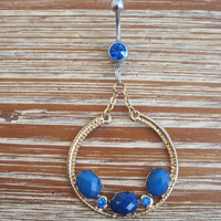 Belly Button Ring - Body Jewelry - Blue Stone Circular Charm with Blue Gem Belly Button Ring