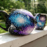Hand painted galaxy tea pot and ceramic mug by ArianaVictoriaRose