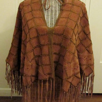 Vintage Suede Leather Poncho / Boho Elegant Embroidered Sexy Poncho With Fringe