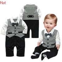 Boy Baby Infant One-piece Gentleman Clothes Formal Necktie Suit Party Romper Long Sleeve Baby Clothing Buttons Grey Jumpsuite Hot SV011482