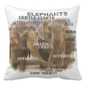 "Amazing Elephants Throw Pillow 20"" x 20"""