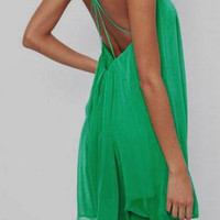 ROMWE Backless Asymmetric Green Dress