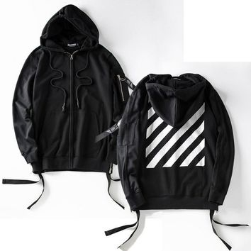 Autumn and winter tidal wave brand hip - hop side zipper hooded cardigan zipper sweater white striped printing