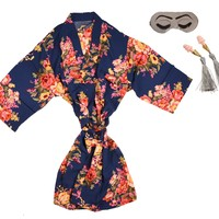 FLORAL ROBE + SLEEP MASK + EARPLUGS GIFT SET