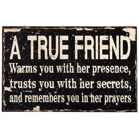 "Decorative Wood Wall Hanging Sign Plaque ""A True Friend..."" Black"