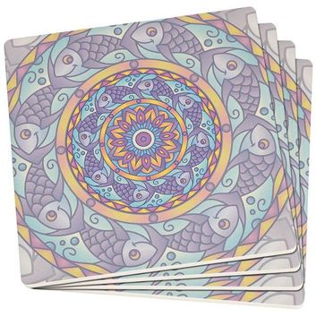 DCCKJY1 Mandala Trippy Stained Glass Fish Set of 4 Square SandsTone Art Coasters