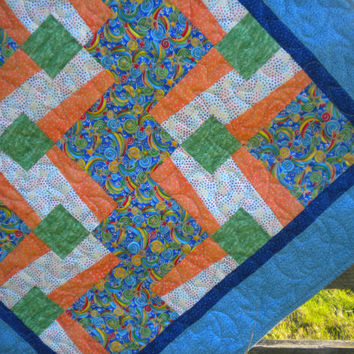 "Blue and Orange Stars Baby Quilt, Toddler Quilt, shooting stars, rainbows bedding, 37"" x 46"", baby boy bedding, boy nursery decor"