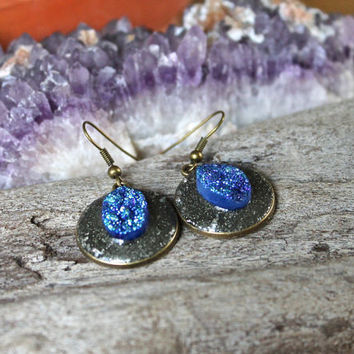 Aura Quartz Earrings - Blue Druzy Jewelry - Cobalt Aura Crystal Jewelry - Festival Fashion - Gypsy Jewelry - Bohemian Earrings Boho Earrings