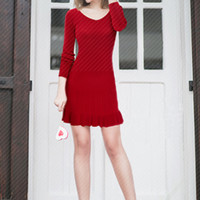 Plain Long Sleeve V-Neck Pleated Knit Dress