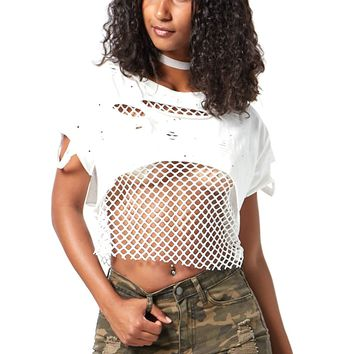 Fishnet Ripped Design Distressed Mesh Crop Tops