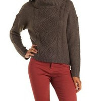 Deep Taupe Slouchy Turtleneck Cable Knit Sweater by Charlotte Russe