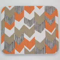Mouse Pad mousepad / Mat - Rectangle or round - Big Chevron Orange zig zag