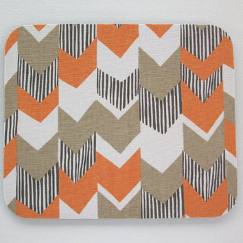 Chevron Mouse Pad mousepad / Mat - round - orange gray chevron herringbone- Computer Accessories decor  Custom Desk Coworker Gifts Office