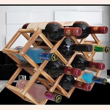 2016 High Quality New Solid Wood Folding Wine Racks Foldable Wine Stand Wooden Wine Holder 10 Bottles Kitchen Bar Display Shelf
