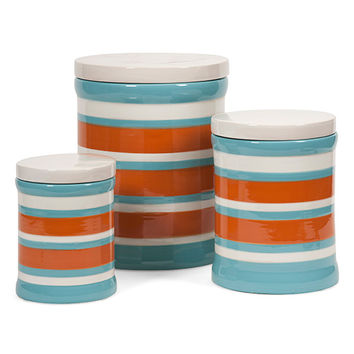 IMAX 87584-3 Miles Blue, Orange and White Striped Canister, Set of Three