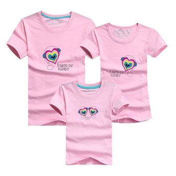 Summer Style 14 Colors Family  Heart I  Love Family  T Shirts Family Matching Clothes Father & Mother & Kids Cartoon Outfits